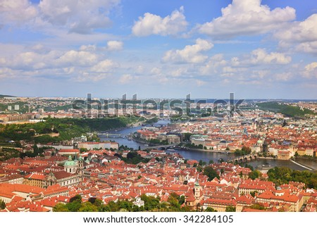 top view of old city in Prague