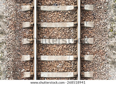 Top view of old metal railway background - stock photo