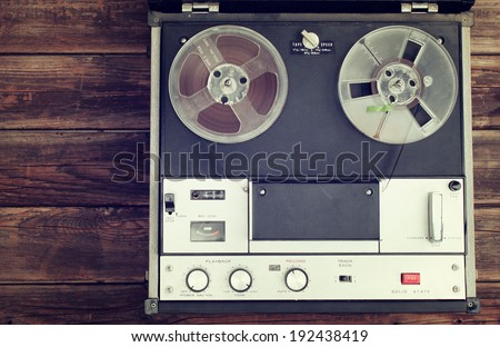 top view of old reel to reel recording machine .filtered image. - stock photo