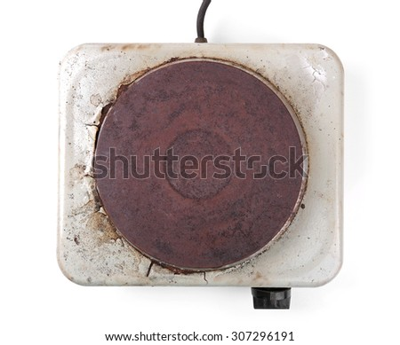top view of old rusty electric cooker - stock photo