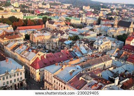 Top view of old town in Lviv, Ukraine