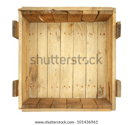 wooden box clipart. top view of old wooden box isolated on white background clipart