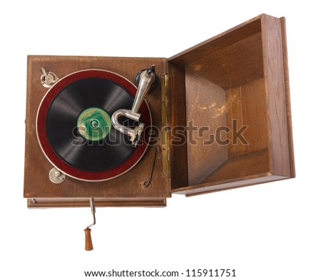 Top view of old wooden gramophone against white background - stock photo