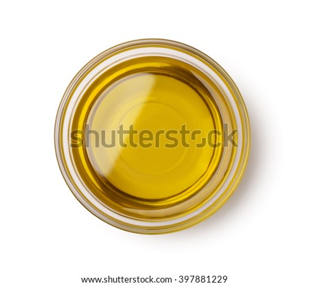 Top view of olive oil bowl isolated on white - stock photo