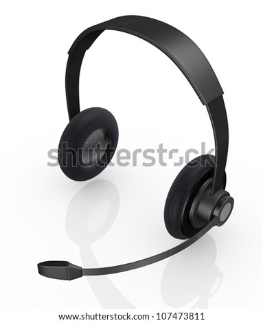 top view of one black headset (3d render) - stock photo