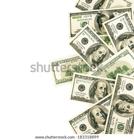 Top view of one hundred dollar bills on white background.