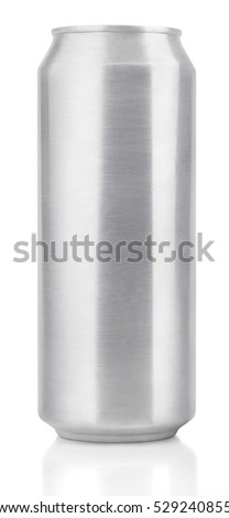 Top view of one 500 ml aluminum beer can isolated on white background. Single aluminum beer can with clipping path