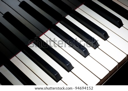 Top view of one octave section of piano keyboard - stock photo