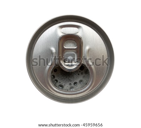Top view of opened aluminum can. Isolated. - stock photo