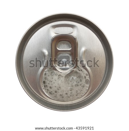 Top view of opened beer can. Isolation.