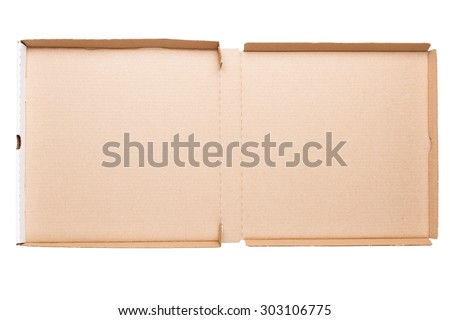 Top view of opened pizza box isolated on white background - stock photo
