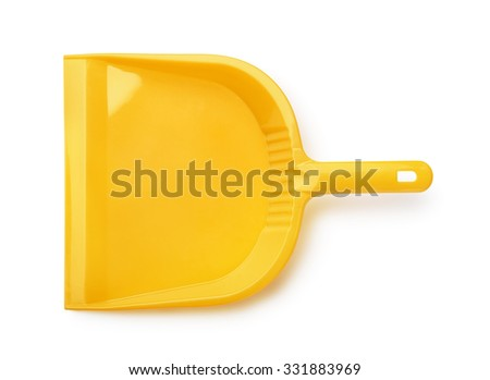 Top view of orange plastic dustpan isolated on white - stock photo