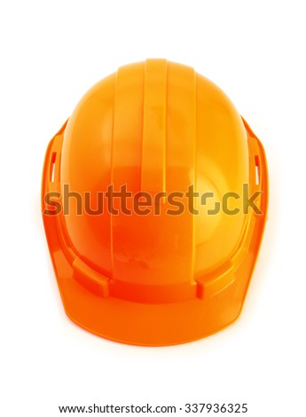 Top view of orange safety helmet on white background. hard hat isolated on white. - stock photo