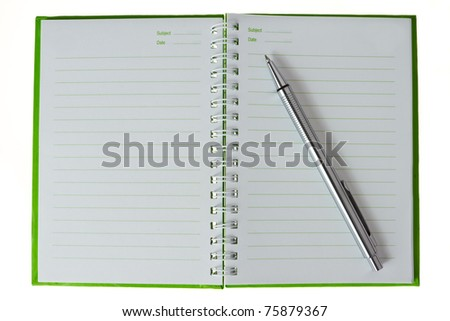 top view of organizer book with silver pen - stock photo