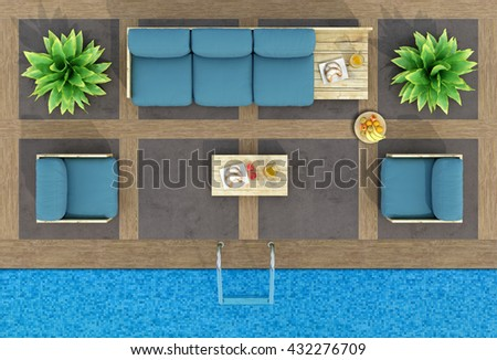 Top view of pallet sofa and armchairs by the pool - 3d rendering