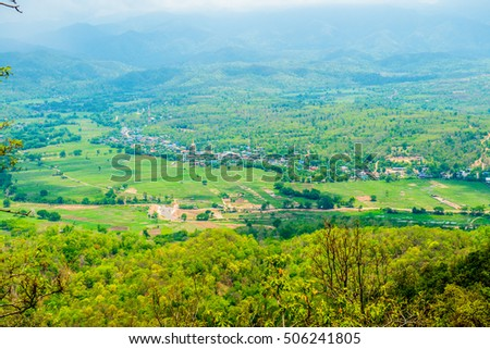 Top view of Pan city in Lampang province, Thailand