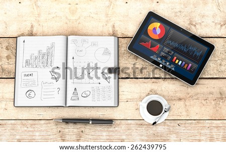 top view of paper notebook with hand drawn doodles of a business plan, a pen, a cup of coffee, a tablet pc with a financial app, wooden background (3d render) - stock photo