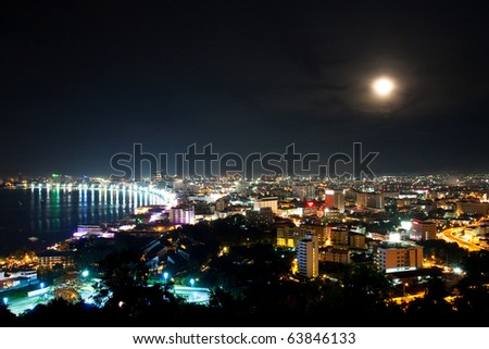 Top view of Pattaya city ,Thailand in the night - stock photo