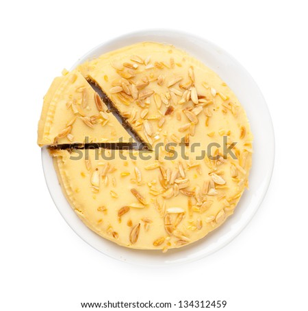 Top view of piece of sweet pie on a white plate - stock photo