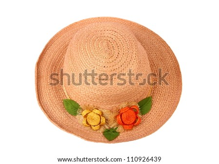 Top view of pink ladies hat, isolated on white background. - stock photo