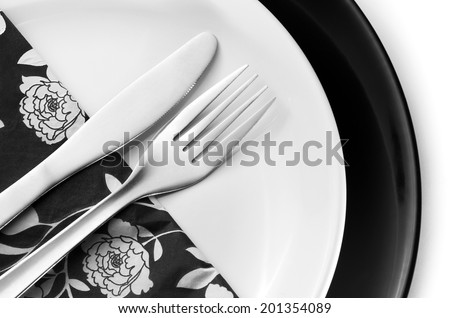 Top view of place setting with plate, knife,fork and napkin - stock photo