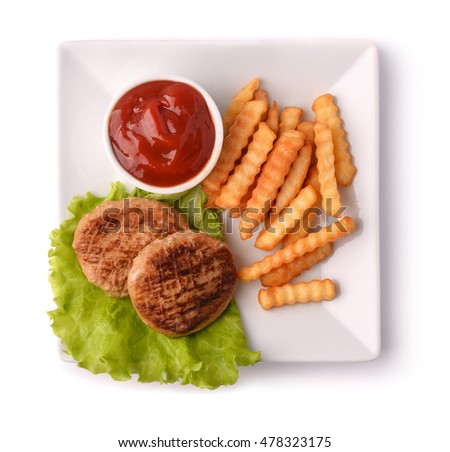 Top view of plate with burgers, fries and ketchup isolated on white