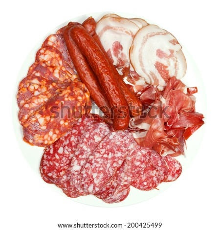 top view of plate with various meat delicacies isolated on white background - stock photo