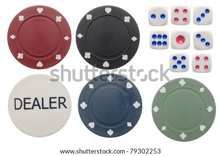 Top view of poker chips and dice isolated on white background. - stock photo