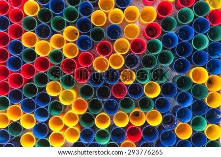 top view of primary colors of mix color cups for artist painting - Primary Color Pictures