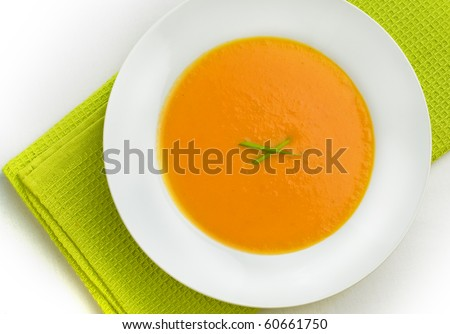 Top view of pumpkin soup - stock photo