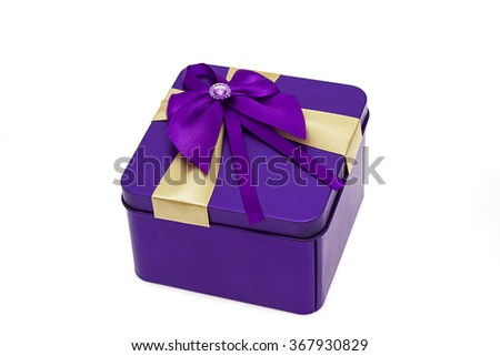 top view of purple present box on the white
