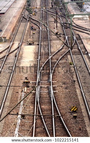 Top view of railway tracks with junctions
