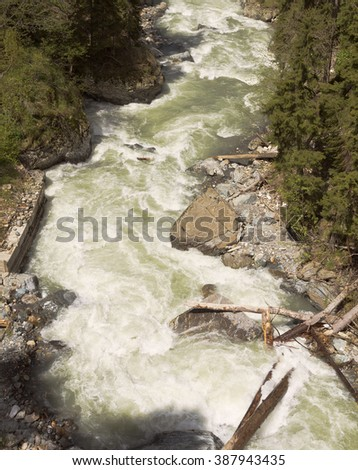 Top view of rapid mountain river.Dombay.The North Caucasus.Russia.