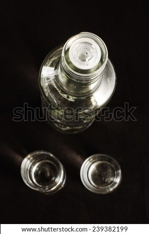 Top view of real russian vodka and two shots - stock photo