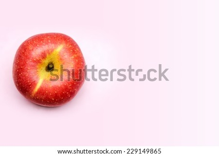 Top view of red apple fruit background. - stock photo