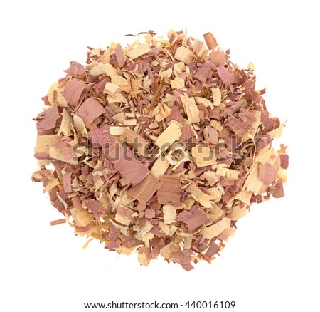 Top view of red cedar shavings used for pet bedding isolated on a white background.