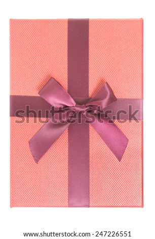 Top view of Red gift box on white background