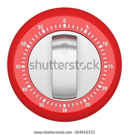 top view of red modern kitchen timer isolated on white background - stock photo