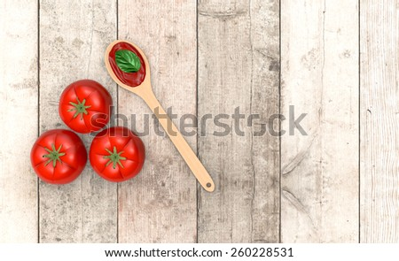 top view of red tomatoes and a wooden spoon and sauce, on wooden background, with empty space for custom text (3d render) - stock photo