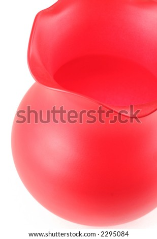 top view of red vase isolated on white - stock photo