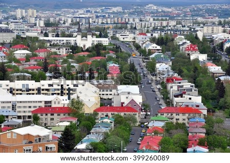 Top view of Reykjavik city, Iceland - stock photo