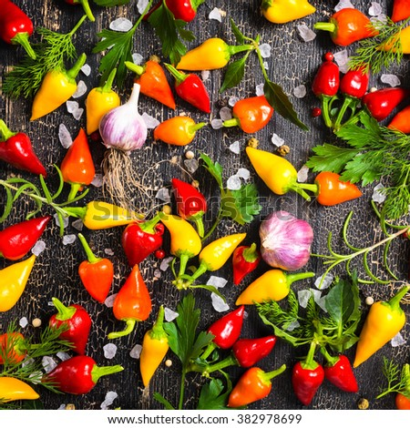top view of ripe yellow, red hot chili peppers, sea salt, different greenery, black peppers and garlic on cracks black background, close up - stock photo