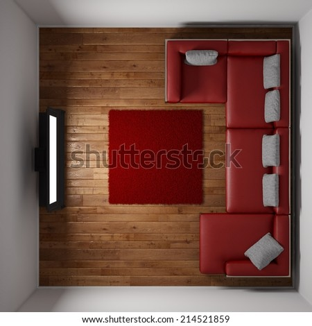 Top view of room with TV and red carpet - stock photo