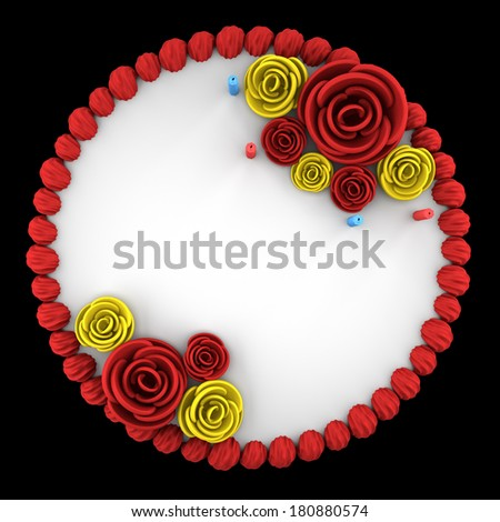 Top View Round Birthday Cake Candles Stock Illustration 180880574