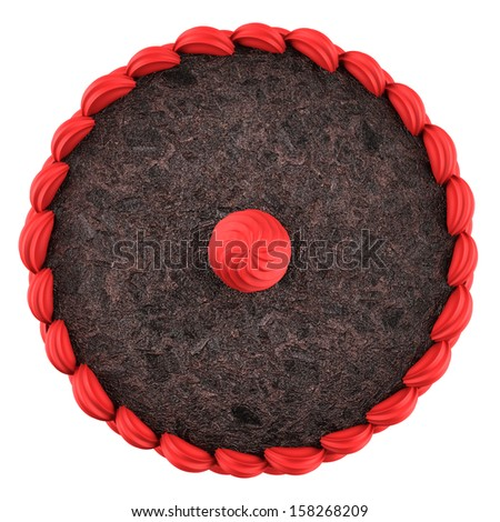 top view of round chocolate cake with pink cream isolated on white background - stock photo