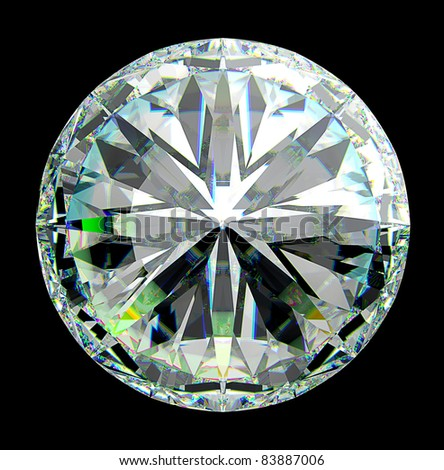 Top view of round diamond with green sparkles isolated over black - stock photo