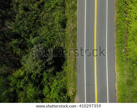 Top View of Rural Road - stock photo