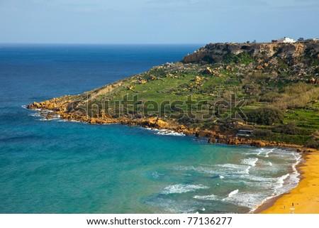 Top view of sand beach. Ramla Bay (Gozo, Maltese islands) - stock photo