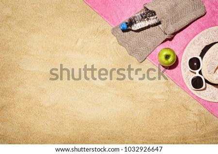 Top View Sandy Beach Towel Frame Stock Photo (Royalty Free ...