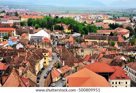 Top view of Sibiu historical centre, Transylvania, Romania